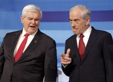 Poll favourite Newt Gingrich with Texas congressman Ron Paul at t he debate.