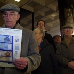 Peter Geoghegan from Harold's Cross, Dublin reads information on the euro.