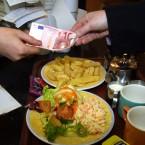 A euro transaction for food at Café Arnotts restaurant in Dublin on 2 January 2002.