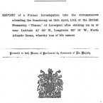 Title page of the British Parliamentary report on the sinking of the Titanic.