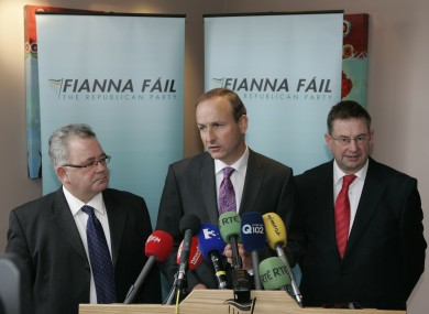 File photo. L to R. Chief Whip Sean O'Fearghail, Fianna Fail Leader Micheal Martin and Deputy Leader Eamon O'Cuiv