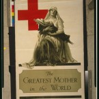A Red Cross poster from 1917 depicting a nurse cradling a wounded soldier. The US Tank Corps's 1917 call for
