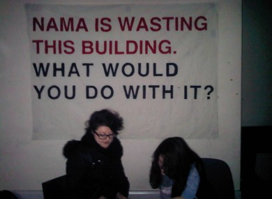 Members of Unlock NAMA inside the Great Strand Street building today