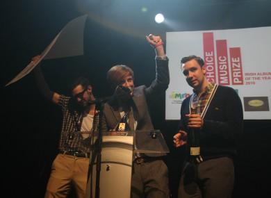 Two Door Cinema Club celebrate winning the 2011 Choice Music Prize