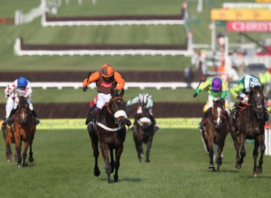 Long Run (second from right) stays on up the hill to win last year's Cheltenham Gold Cup.