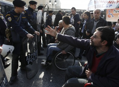2,000 disabled demonstrators attended a rally in central Athens in December to protest sweeping benefit cuts that have affected the disabled
