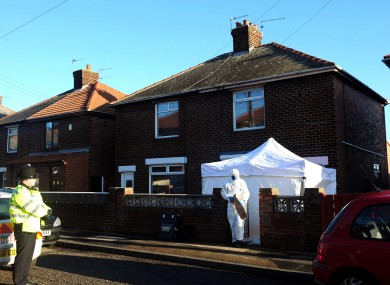 Forensic officers at the home in Horden