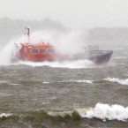 Waves break over a pilot boat returning to Portsmouth this morning. (Image: Chris Ison/PA Wire)