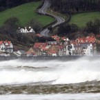 Surf crashes ashore at Sandsend, near Whitby, North Yorkshire. (Image: John Giles/PA Wire)