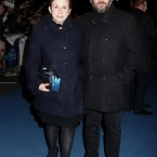 Abi Morgan, the writer of the screenplay with her guest.   The traditional red carpet was exchanged for a blue one - the colour of Thatcher's Conservative Party.