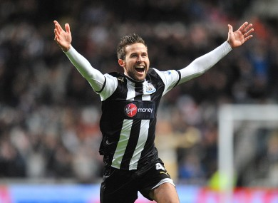 Newcastle United's Yohan Cabaye celebrates scoring his side's second goal of the game.