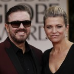 Golden Globes presenter Ricky Gervais and Jane Fallon hit the red carpet ahead of the awards. (AP Photo/Matt Sayles/PA Images)