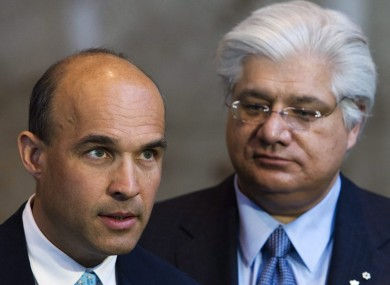 Balsillie (L) and Lazaridis (R) in 2009.