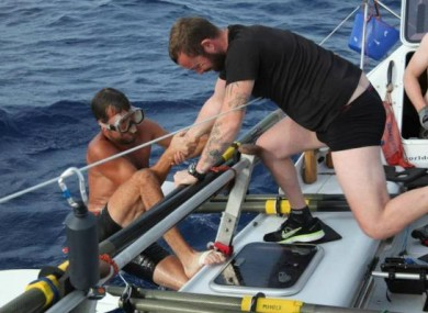Two crew members of the Atlantic Odyssey the day before the boat capsized