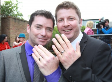 Barry Dignam and Hugh Walsh were the first male couple in Ireland to enter a civil partnership last April.