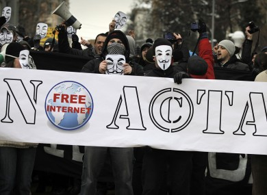 Anti-ACTA protesters in Bulgaria earlier this week.