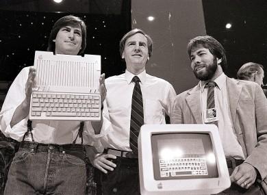 Steve Jobs, Steve Wozniak and John Sculley unveil the Apple IIc computer in 1984