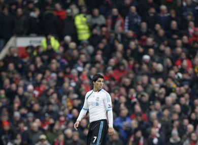 Luis Suarez at Old Trafford on Saturday.