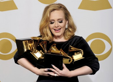 Adele with her armful of awards