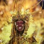 One of the Beija Flor samba school performers during today's festivities at the Sambadrome. (AP Photo/Silvia Izquierdo/PA Images)