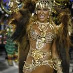 Sabrina Sato, Queen of Vila Isabel samba school, parades at the Sambadrome during carnival celebrations in Rio de Janeiro. (AP Photo/Victor R Caivano/PA Images)
