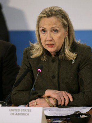 US Secretary of State Hillary Clinton at today's conference.