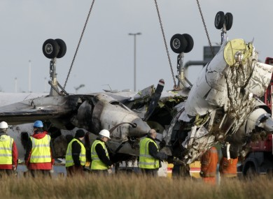 The remains of the Manx2 flight that crashed on its third attempt to land at Cork airport a year ago today.