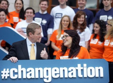 Taoiseach Enda Kenny and Helen McGuire at today's launch.