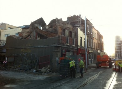 A photo posed by the @Luas twitter account, showing the ongoing demolition work at the damaged property on Benburb Street.