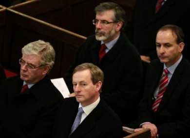 The four main party leaders at a service in St Ann's Church, Dublin on 9 March 2011.