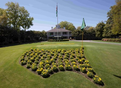 The entrance to the clubhouse at the Augusta National Golf Club.
