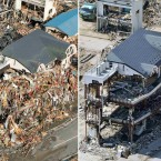 Residents wait for rescuers on the balcony of the debris-dangling house in Rikuzentakata, Iwate prefecture on 12 March, 2011 (left). The same building, right, with the debris almost cleared as photographed on 3 June, 2011. (AP Photo/Kyodo News/PA Images)