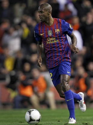 Abidal playing for Barca last month.