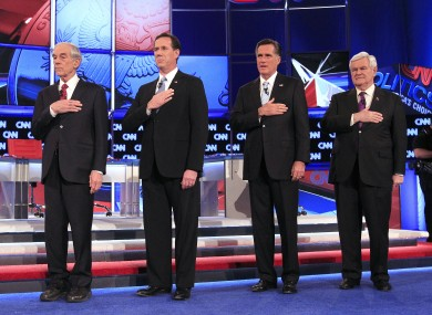 The four Republican candidates - Ron Paul, Rick Santorum, Mitt Romney and Newt Gingrich - will be seeking the support of some 410 delegates in today's 'Super Tuesday' primaries.