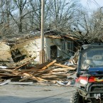 Emergency responders drive through a tornado damaged portion of Harrisburg on 29 February. (AP Photo/Stephen Lance Dennee/PA Images)