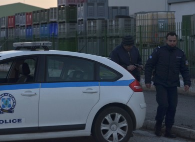 Greek police near the factory in Komotini today.