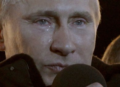 Vladimir Putin sheds a tear a rally in Moscow after his victory was announced last night.