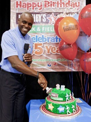Carl Lewis in Times Square this week.