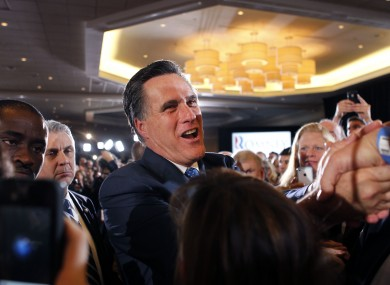 Mitt Romney greets supporters at his election night party in Boston, after taking victory in six of the 10 states which voted on Super Tuesday.