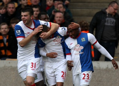 Blackburn Rovers celebrate Junior Hoilett's hugely important opener against Wolves