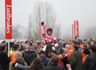 Geraghty celebrates victory on Riverside Theatre after winning the Ryanair Chase.