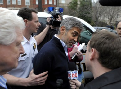 Clooney being arrested yesterday.