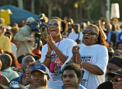 Thousands attend a rally for Trayvon Martin in Sanford, Florida yesterday.