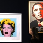 Picture by British artist Banksy, entitled 'Kate Moss', left, and Shepard Fairey's print depicting U.S. President Barack Obama (Alastair Grant/PA Images)