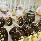 Chocolatiers work on the hand-crafted chocolate Easter eggs and rabbits at Betty's in Harrogate. How did your eggs measure up these? (John Giles/PA Wire)