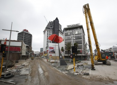 Demolished buildings in the central Christchurch, New Zealand