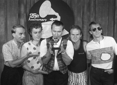 Greg Ham, far left, with Men at Work members Ron Strykert, Colin Hay, Jerry Speiser and John Rees after a Grammy win in 1983.