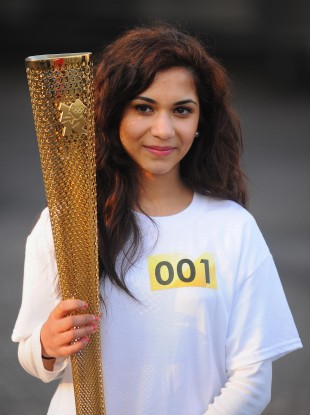 Torchbearer Jasmine Vanmali before starting the 2012 Olympic Torch Relay dress rehearsal.