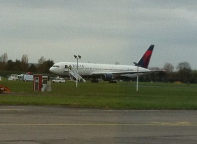 The Delta Airlines Boeing 767-300 on the tarmac in Dublin, after making an emergency landing.