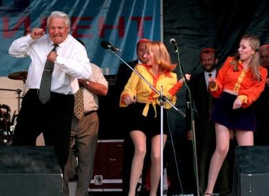 Boris Yeltsin dances at a rock concert in 1996